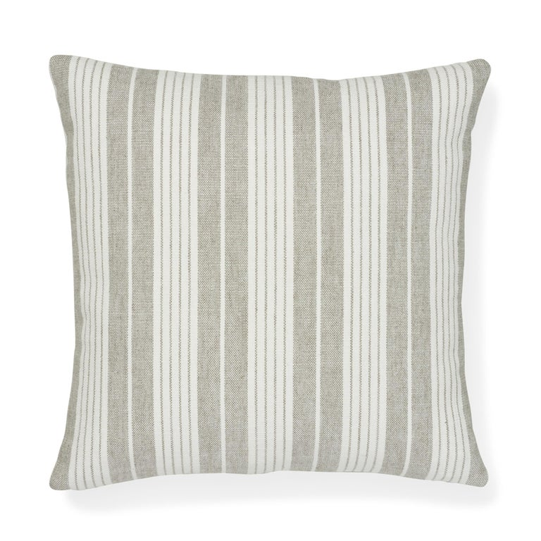 Italian Schumacher Horst Stripe Grisaille Two-Sided Pillow For Sale