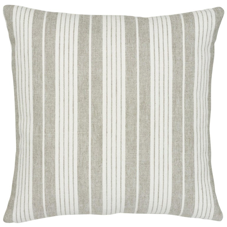 Schumacher Horst Stripe Grisaille Two-Sided Pillow For Sale