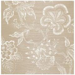 Schumacher Hothouse Flowers Sisal Wallpaper in Fog & Chalk