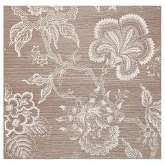 Schumacher Hothouse Flowers Sisal Wallpaper in Haze & Chalk