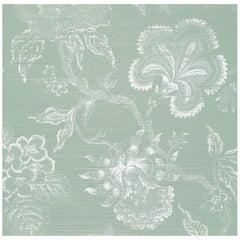 Schumacher Hothouse Flowers Sisal Wallpaper in Seaglass & Chalk
