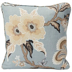 Schumacher Hothouse Flowers Tree of Life Mineral Blue Two-Sided Linen Pillow