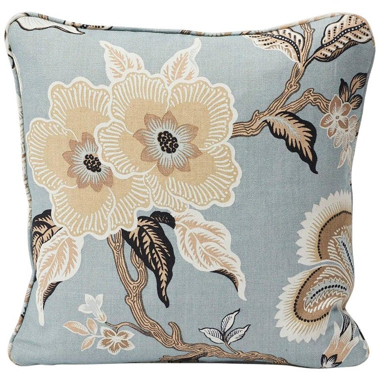 Schumacher Hothouse Flowers Tree of Life Mineral Blue Two-Sided Linen Pillow For Sale