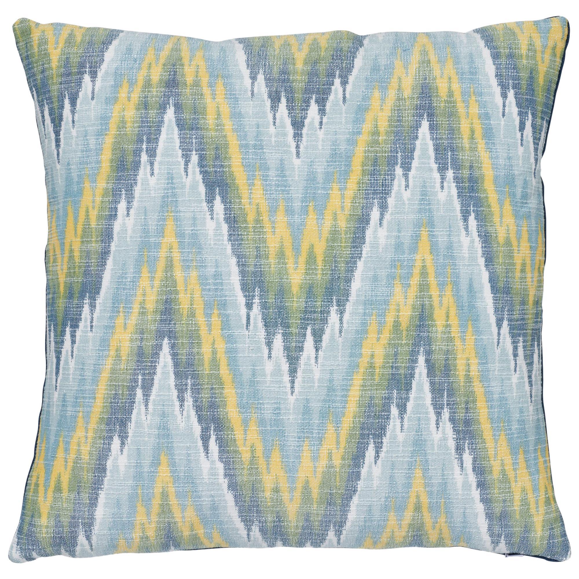 Schumacher Ibiza Flamestitch Pool Cotton Linen Pillow
