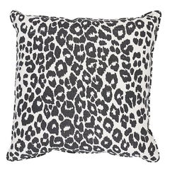 "Schumacher Iconic Leopard 18"" Pillow Two-Sided Pillow in Graphite"