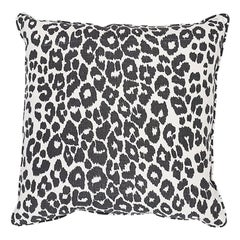 "Schumacher Iconic Leopard 20"" Pillow Two-Sided Pillow in Graphite"