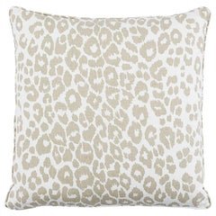 "Schumacher Iconic Leopard 22"" Pillow in Linen"