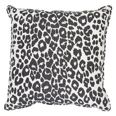 "Schumacher Iconic Leopard 22"" Pillow Two-Sided Pillow in Graphite"