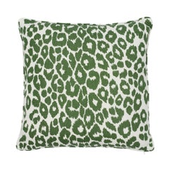 Schumacher Iconic Leopard Green Two-Sided Linen Pillow