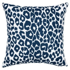 Schumacher Iconic Leopard Indoor or Outdoor Navy Pillow