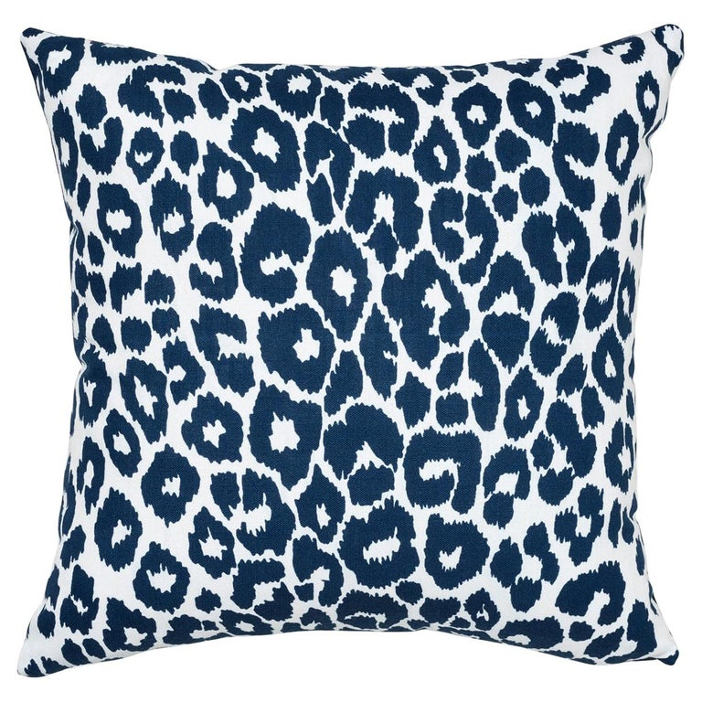 Schumacher Iconic Leopard Indoor or Outdoor Navy Pillow For Sale