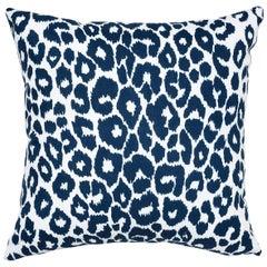 Schumacher Iconic Leopard Indoor or Outdoor Navy Pillow