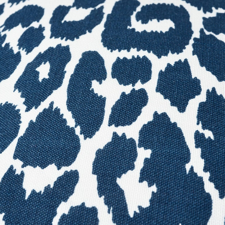 Modern Schumacher Iconic Leopard Indoor or Outdoor Navy Pillow For Sale