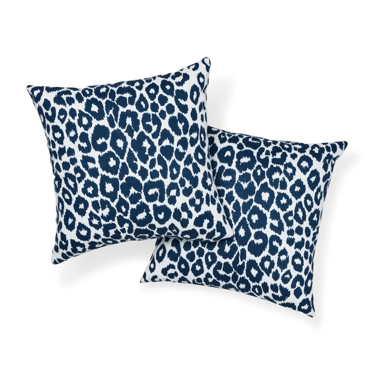 British Schumacher Iconic Leopard Indoor or Outdoor Navy Pillow For Sale