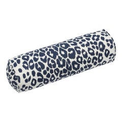 Schumacher Iconic Leopard Ink Linen Bolster Pillow