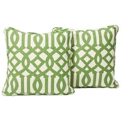 "Schumacher Imperial Trellis Linen Treillage Green Ivory 18"" Pillows, Pair"