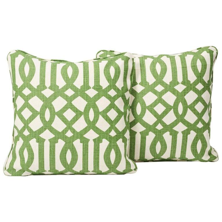 Schumacher Imperial Trellis Linen Treillage Green Ivory Pillows