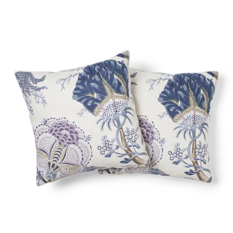 Modern Schumacher Indian Arbre Hyacinth Two-Sided Linen Pillow For Sale