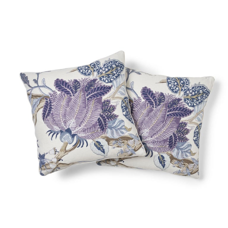 Thai Schumacher Indian Arbre Hyacinth Two-Sided Linen Pillow For Sale