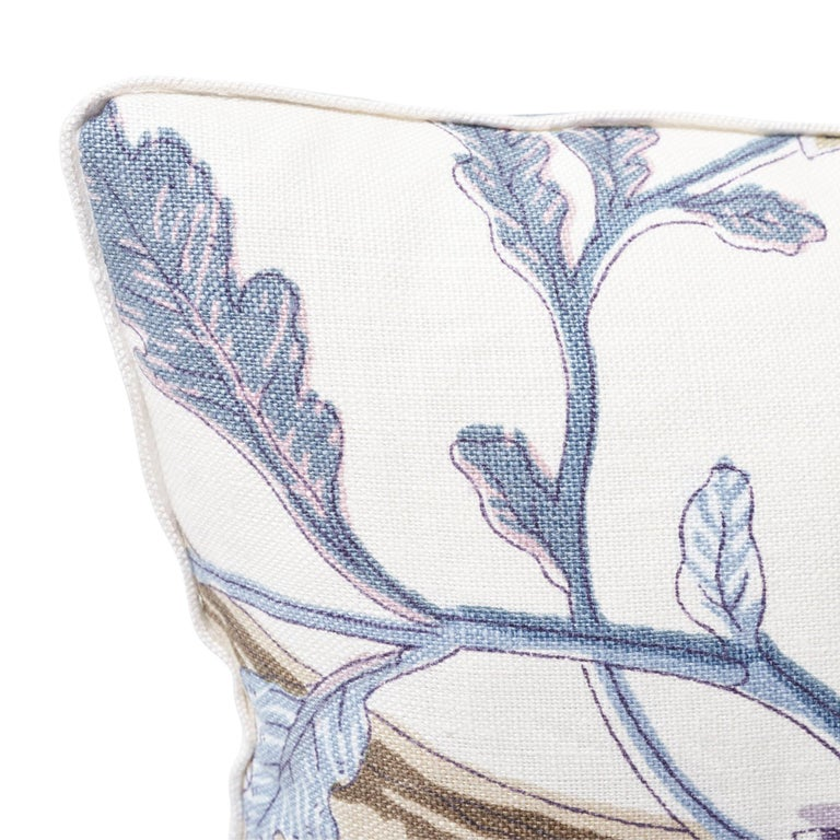 Schumacher Indian Arbre Hyacinth Two-Sided Linen Pillow In New Condition For Sale In New York, NY