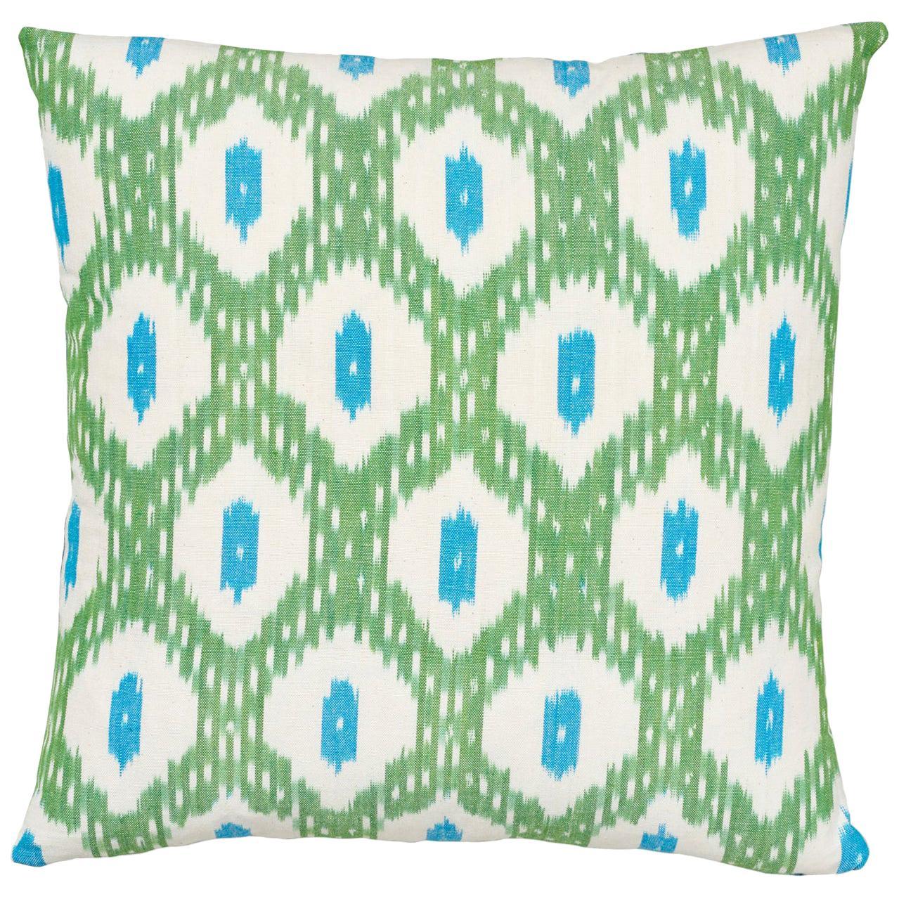 Schumacher Indio Ikat Green Cotton Pillow