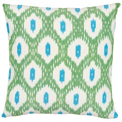 Schumacher Indio Ikat Green Cotton Pillow