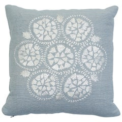 Schumacher Isla Hand Embroidery Sky Two-Sided Cotton Linen Silk Pillow