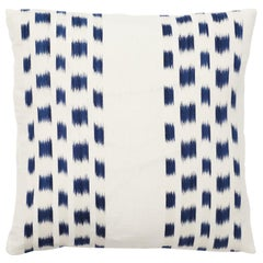 Schumacher Izmir Stripe Ikat Woven Indigo Blue Two-Sided Pillow
