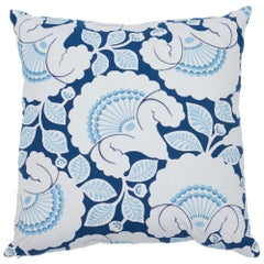 Schumacher Jackie Applique Embroidery Blue Two-Sided Linen Pillow