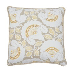 Schumacher Jackie Applique Embroidery Natural Two-Sided Linen Pillow