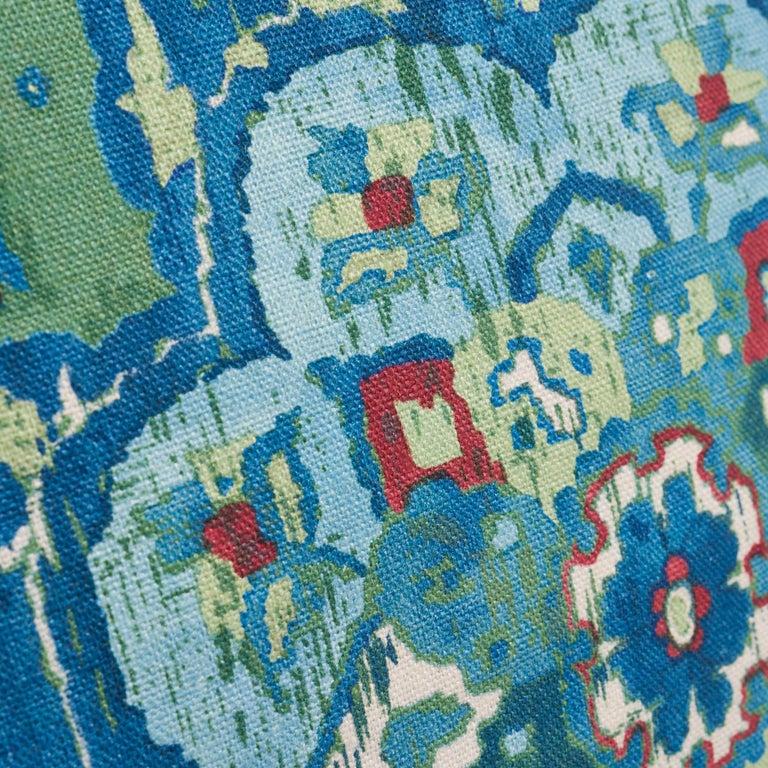Modern Schumacher Jahanara Carpet Jade Two-Sided Linen Pillow For Sale