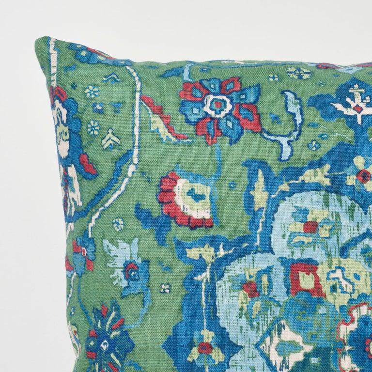 Thai Schumacher Jahanara Carpet Jade Two-Sided Linen Pillow For Sale