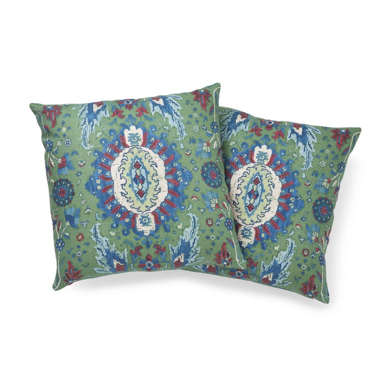 Schumacher Jahanara Carpet Jade Two-Sided Linen Pillow In New Condition For Sale In New York, NY