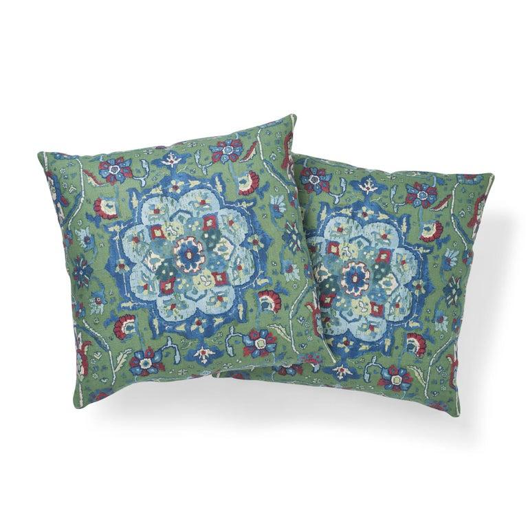 Contemporary Schumacher Jahanara Carpet Jade Two-Sided Linen Pillow For Sale