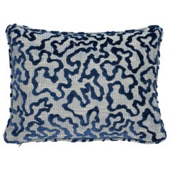 Schumacher Janis Velvet Blue Lumbar Two-Sided Pillow