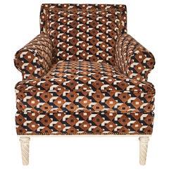Schumacher Jansen Sock Arm Chair Upholstered in Dazzle Ship Velvet Fabric