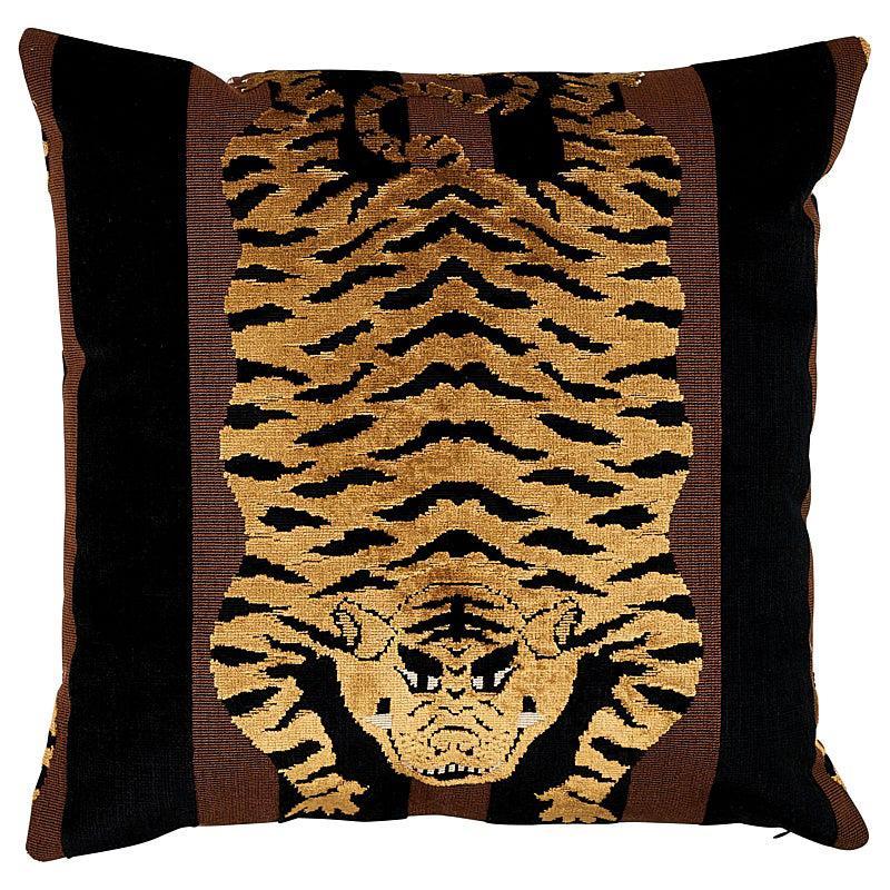 """Schumacher Jokhang Tiger Velvet 18"""" x 18"""" Pillow"""