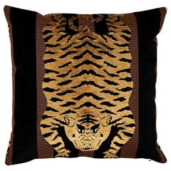 "Schumacher Jokhang Tiger Velvet 18"" x 18"" Pillow"