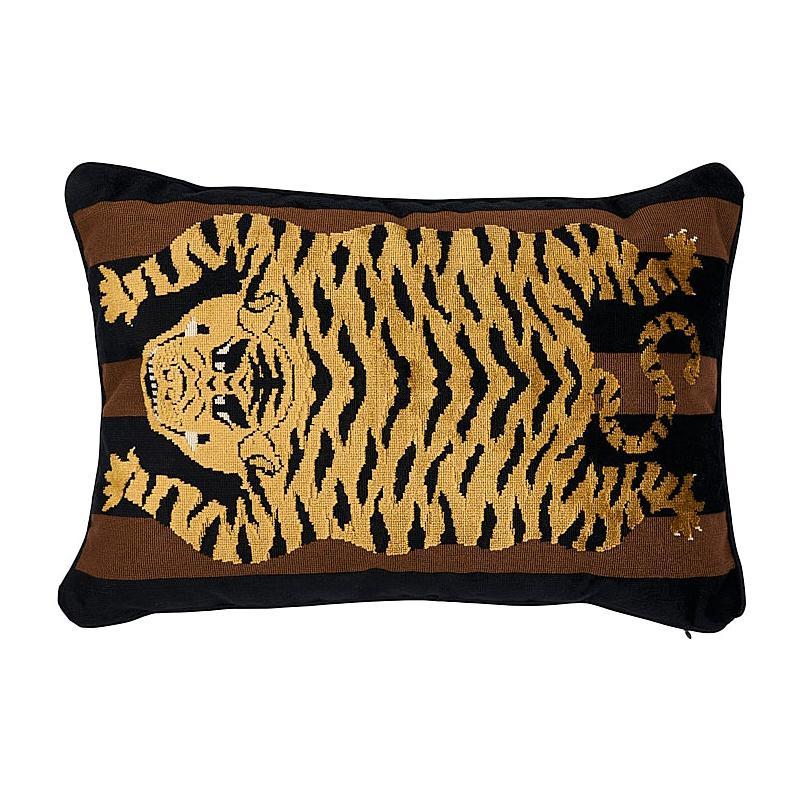 """Schumacher Jokhang Tiger Velvet 20"""" x 14"""" Lumbar Pillow"""