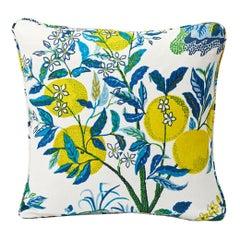 Schumacher Josef Frank Citrus Garden Pool Blue Linen Two-Sided Pillow
