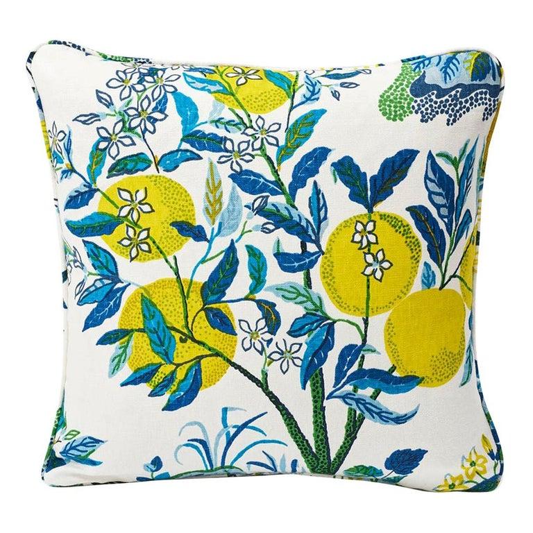 Schumacher Josef Frank Citrus Garden Pool Blue Linen Two-Sided Pillow For Sale