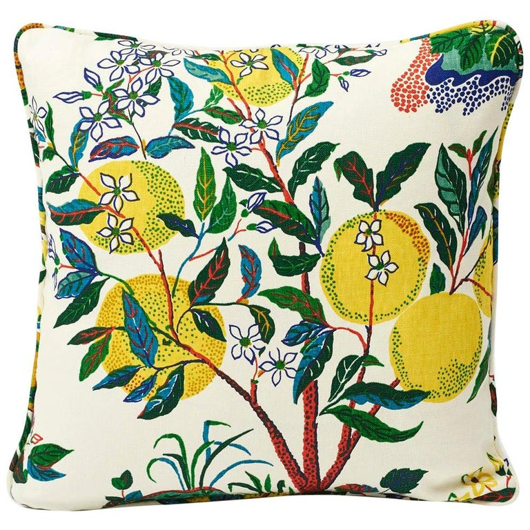 Schumacher Josef Frank Citrus Garden Primary Color Linen Two-Sided Pillow For Sale