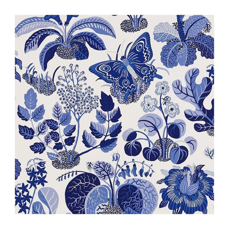 Schumacher Josef Frank Exotic Butterfly Marine Blue Wallpaper Two Roll Set For Sale