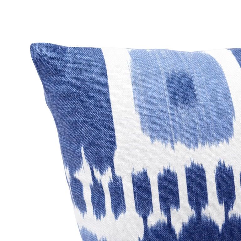 Modern Schumacher Kandira Blues Two-Sided Linen Pillow For Sale