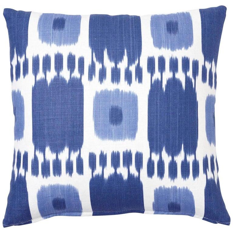Schumacher Kandira Blues Two-Sided Linen Pillow For Sale