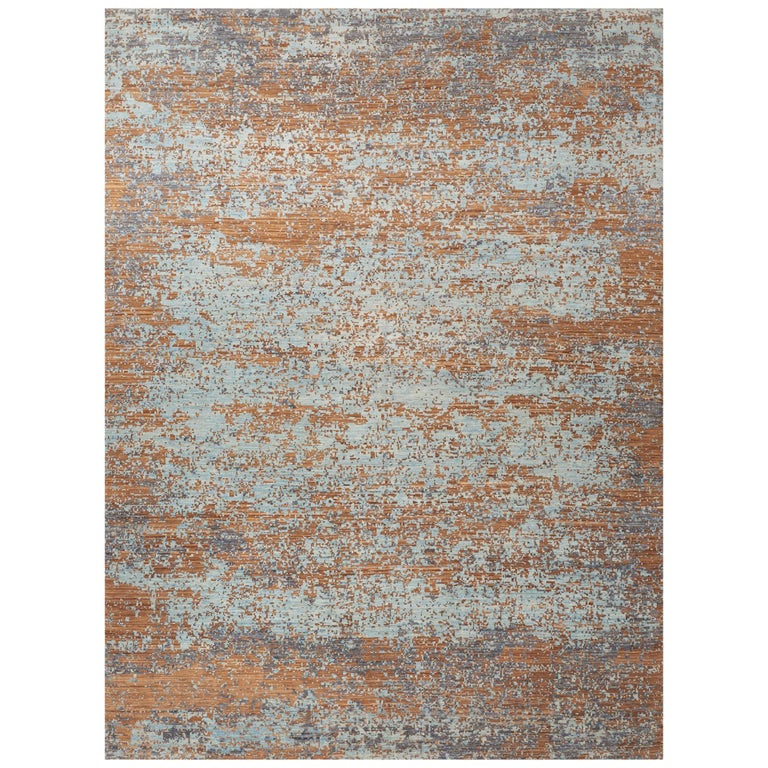 Schumacher Karol Area Rug in Hand Knotted Wool Silk, Patterson Flynn Martin For Sale