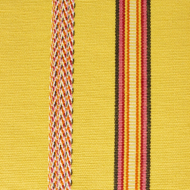 Indian Schumacher Kayenta Yellow Two-Sided Cotton Lumbar Pillow For Sale