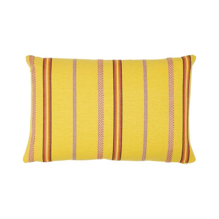 Schumacher Kayenta Yellow Two-Sided Cotton Lumbar Pillow For Sale