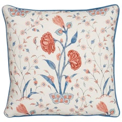 Schumacher Khilana Floral Delft Rose Linen Cotton Two-Sided Pillow