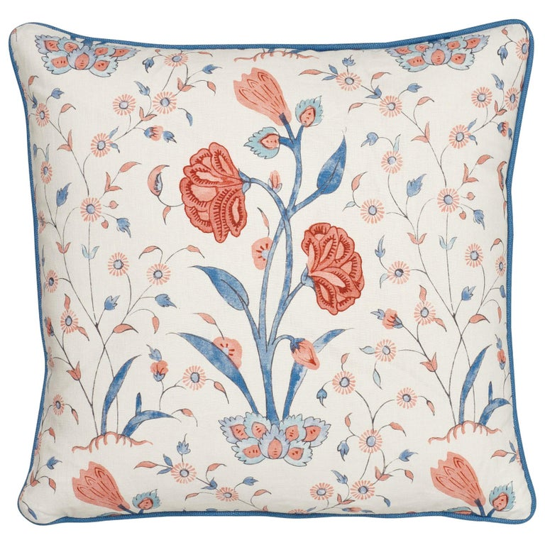 Schumacher Khilana Floral Delft Rose Linen Cotton Two-Sided Pillow For Sale